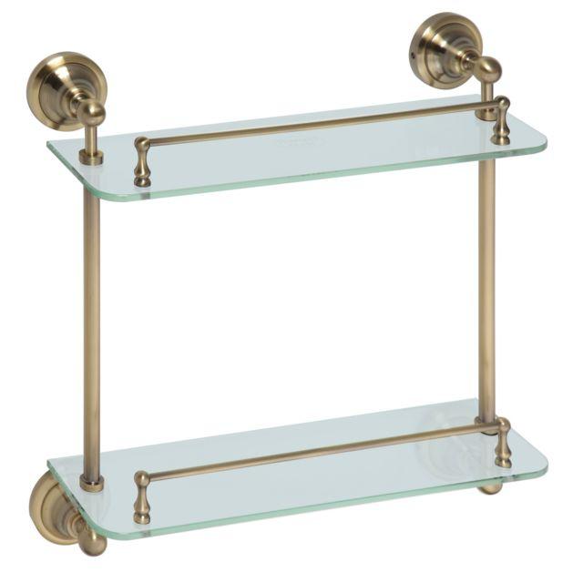 Bemeta - Maison De La Tendance - Etagère, tablette en verre double Retro en laiton 40x42x12 cm