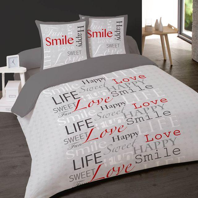 b0e6738e5b87e7 Dourev - Housse de couette 220x240 cm Smile en flanelle 100% coton + 2 taies