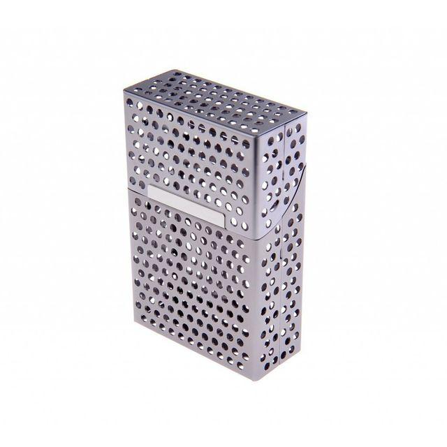 Alpexe Cache paquet de cigarette en Aluminium ouverture automatique Perce Gris