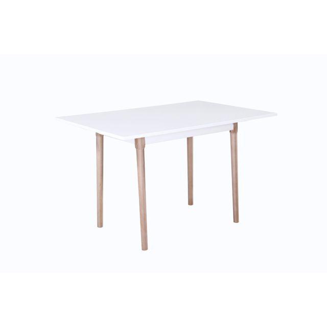 HABITAT ET JARDIN Table repas Freddy - 120 x 80 x 75 cm - Blanc laqué