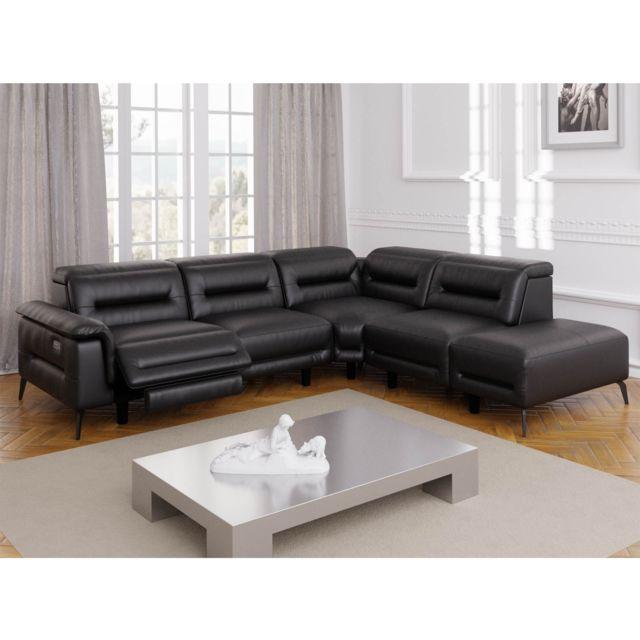La Chaiserie Canapé design Relax électrique Noir angle droit Tom