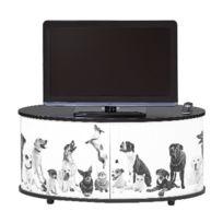 - Meuble Tv classeur rideau decor dog noir