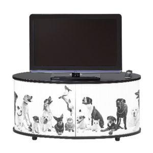 meuble tv classeur rideau decor dog noir pas cher achat vente meuble tv rueducommerce. Black Bedroom Furniture Sets. Home Design Ideas