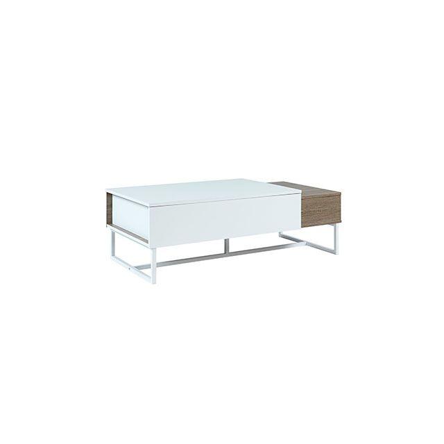 Table basse en bois plateau relevable décor chêne et blanc