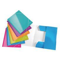 Leitz - Chemise à élastique 3 rabats carte Wow 24 x 31 cm dos 2,4 cm couleurs assorties - Lot de 6