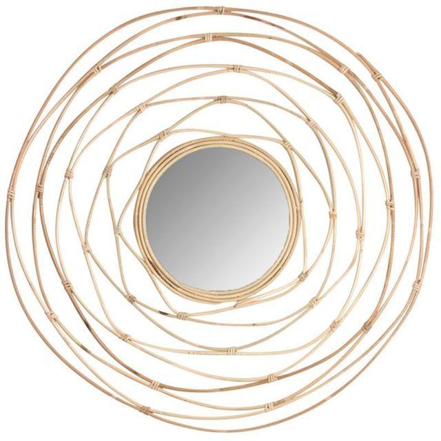 AUBRY GASPARD Miroir rotin crazzy Diamètre 80cm