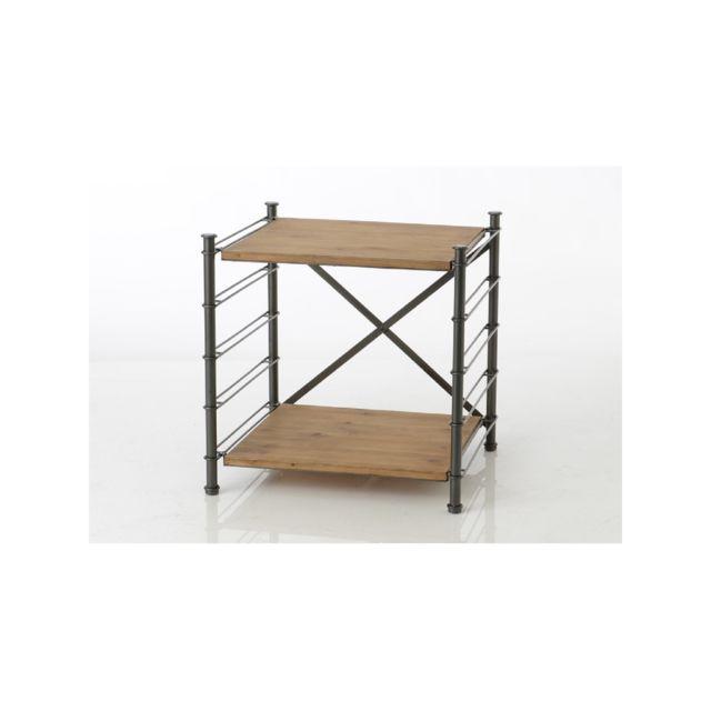 Hellin Bout de canapé modulable en bois métal - Alane