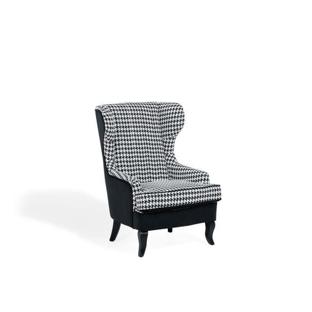 BELIANI Fauteuil de salon en tissu à carreaux blanc et noir MOLDE - noir et blanc