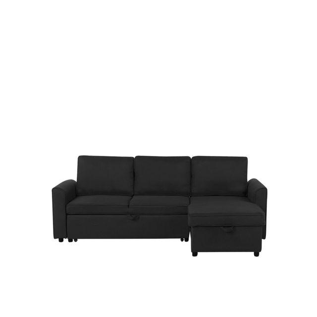 BELIANI Canapé avec rangement côté gauche noir NESNA - noir