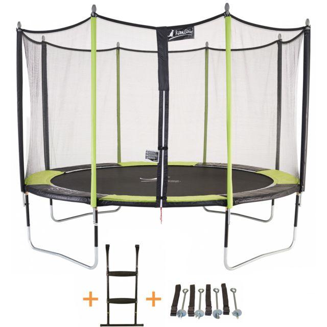 kangui trampoline de jardin 365 cm filet de s curit chelle kit d 39 ancrage jumpi pop 360. Black Bedroom Furniture Sets. Home Design Ideas