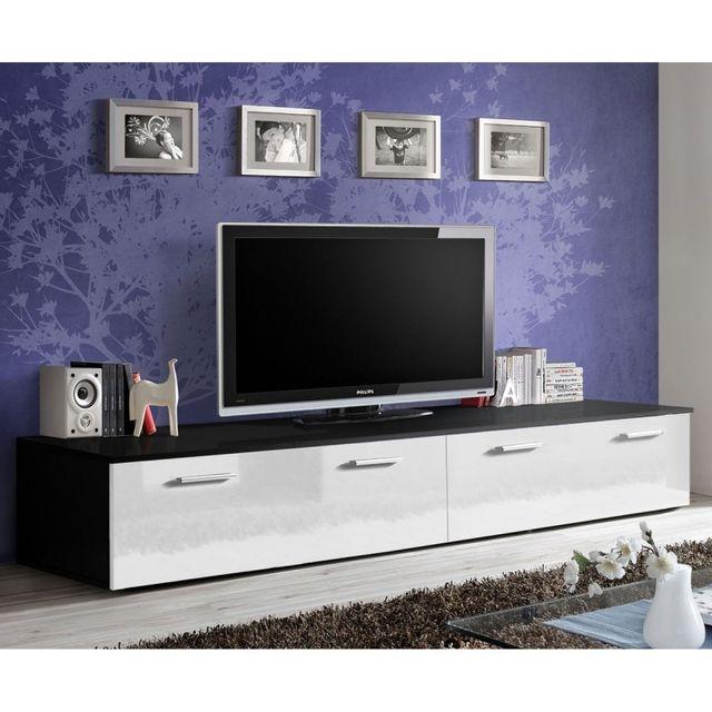 """paris prix - meuble tv design """"duo"""" 200cm blanc & noir - pas cher"""