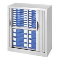 Vinco - Armoire monobloc à rideaux H 100 cm gris clair - 24 tiroirs bleus