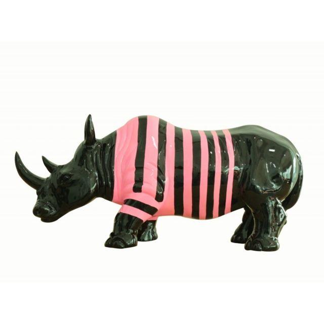 Meubletmoi Statue rhinocéros décoration laquée noire et rose