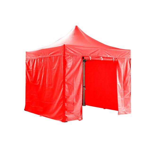 Greaden Barnum pliante 3x3m 50mm en aluminium premium Pro 520Gr/m2 avec pack 4 murs amovibles - rouge - tente pliante - Gr-1FCM3