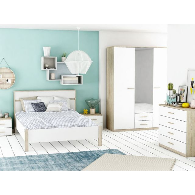 habitat et jardin lit selena 140 x 190 cm ch ne bross blanc perle 90cm x 190cm pas cher. Black Bedroom Furniture Sets. Home Design Ideas