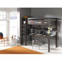 Modern Life - Lit surelevé gris avec bureau