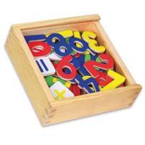 Viga Toys - 0651 - Apprendre À Lire Et À ÉCRIRE - Chiffres MagnÉTIQUES + Signes OpÉRATIONS - 37 PiÈCES