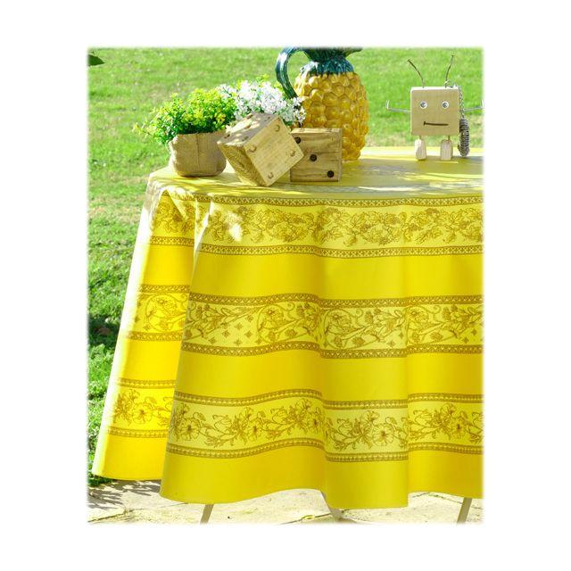 vent du sud nappe ronde enduite 160 sanary miel multicolore pas cher achat vente nappes. Black Bedroom Furniture Sets. Home Design Ideas