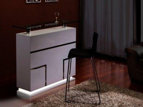 Vente-unique Meuble de Bar Luminescence - Mdf laqué blanc & verre trempé 12 mm - Leds