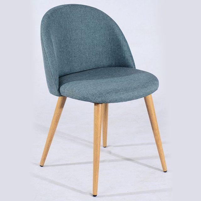 meubler design lot de 2 chaise scandinave tissu zomba bleu - Chaise Scandinave Bleu