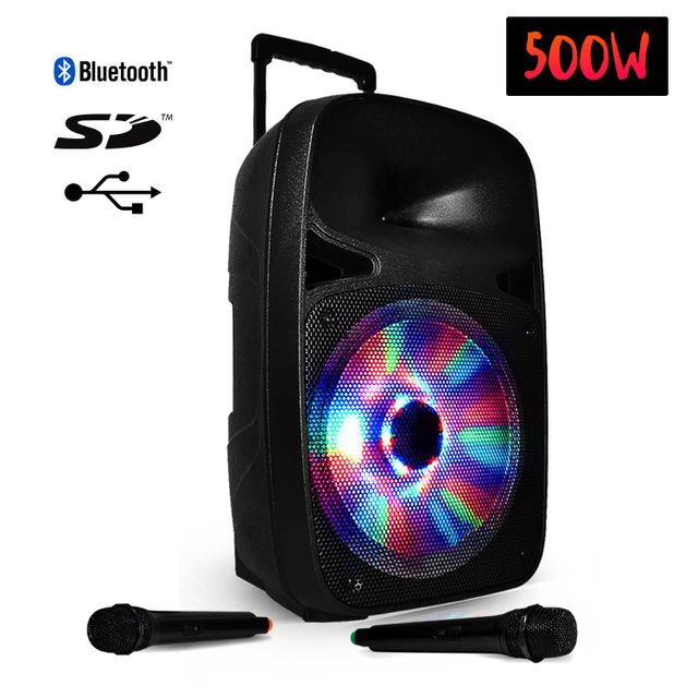Party Sound Enceinte sono mobile active à Leds Rvb 500W/12