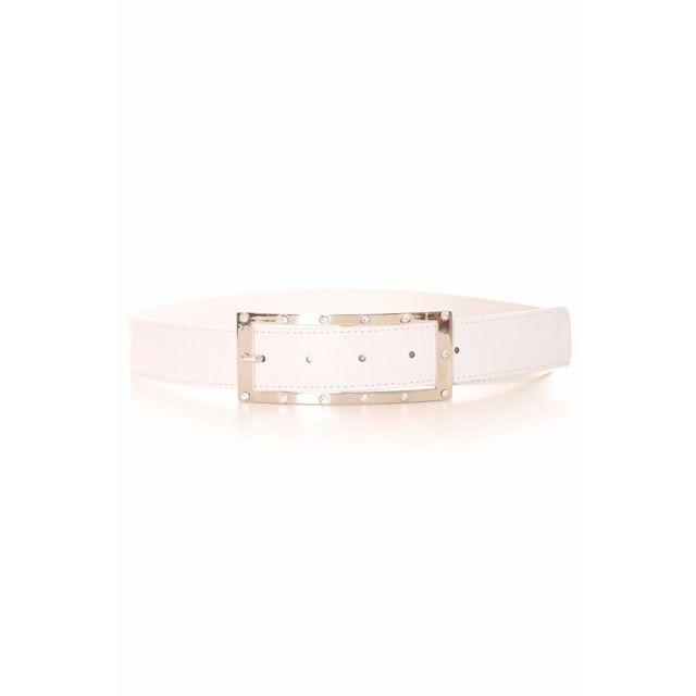 15e1455372d Grossiste-en-ligne - Ceinture blanche avec boucle rectangulaire argentée et  strass. Accessoire