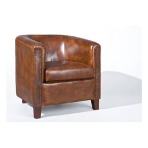 inside 75 fauteuil vintage cornwell en cuir marron pas cher achat vente si ges et. Black Bedroom Furniture Sets. Home Design Ideas