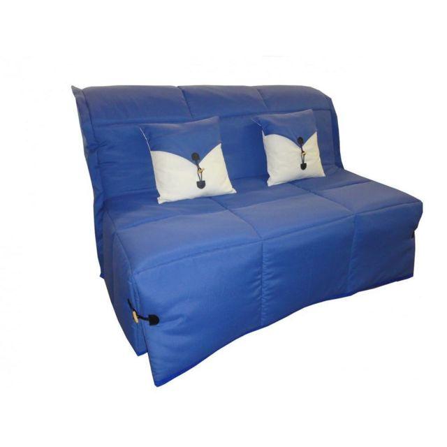 Inside 75 Canapé Bz convertible Soan bleu 140 200cm matelas confort Bultex inclus