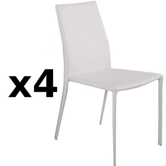 Inside 75 Lot de 4 chaises design Polo en tissu enduit polyuréthane simili façon cuir blanc