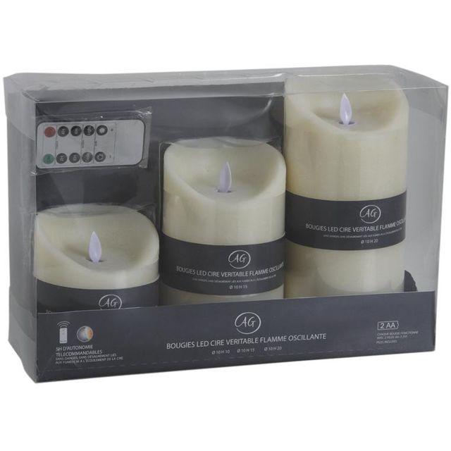 aubry gaspard coffret 3 bougies leds vanille avec t l commande pas cher achat vente. Black Bedroom Furniture Sets. Home Design Ideas