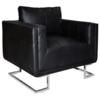 Vidaxl Luxueux Fauteuil Cube en cuir Noir