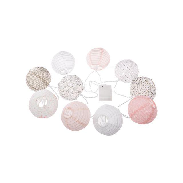 Atmosphera - Guirlande Led 10 boules Rose