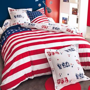 cotonflor en soldes stars stripes housse de couette rouge 140 x 200. Black Bedroom Furniture Sets. Home Design Ideas