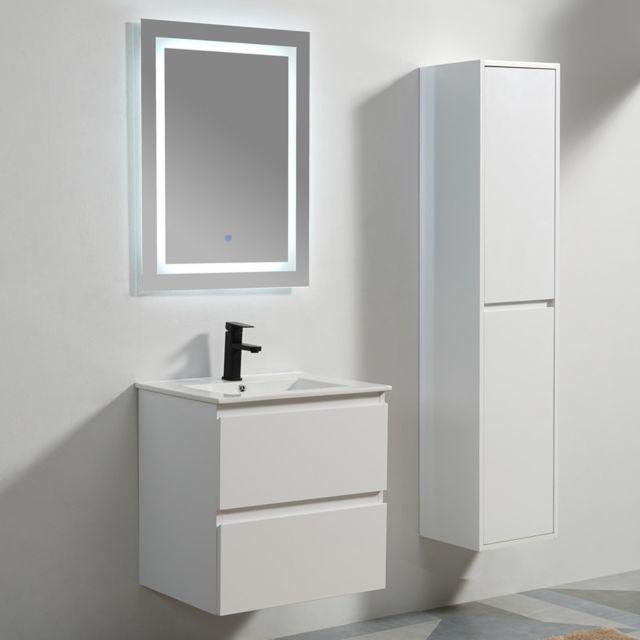 Rue du bain meuble de salle de bain 2 tiroirs mdf 19 mm blanc vasque miroir led - Meuble salle de bain rue du commerce ...