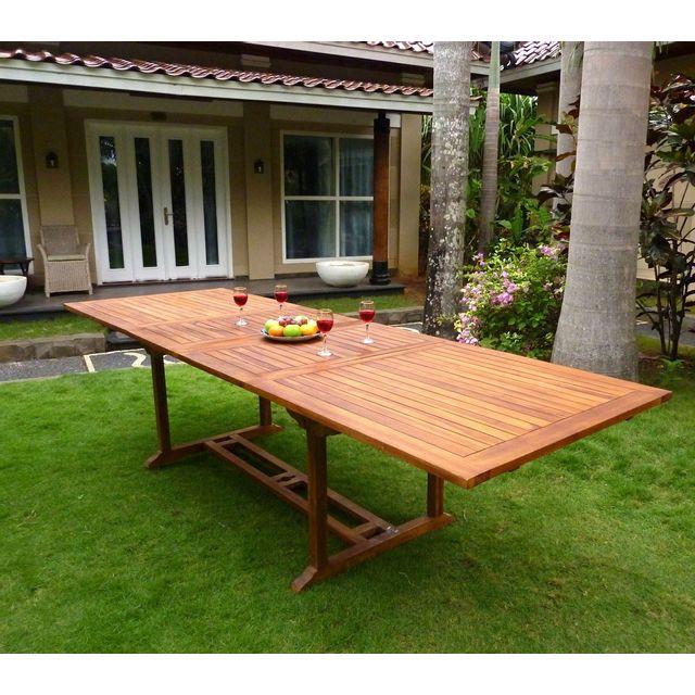 Wood En Stock - Table de jardin Xxl en teck huilé - double rallonge ...