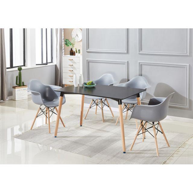 Ensemble Table et 4 Chaises Scandinaves Coloris Noir & Gris Romano Halo