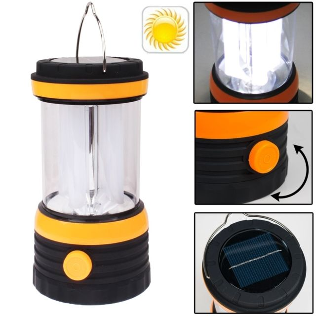 wewoo led avec panneau solaire noir lanterne de lampe de camping 8 pas cher achat vente. Black Bedroom Furniture Sets. Home Design Ideas