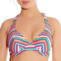Freya - Haut de maillot tour de cou à armature Beach candy sorbet