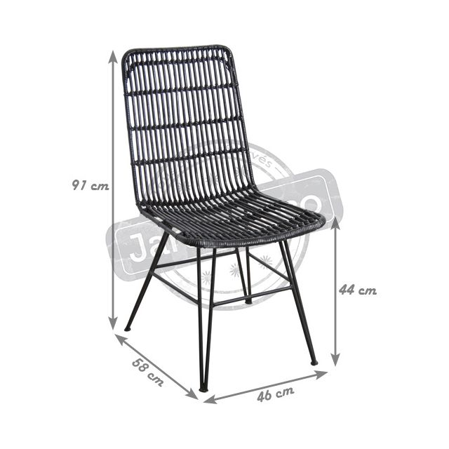 AUBRY GASPARD - Chaise en rotin et métal Maïa Noir