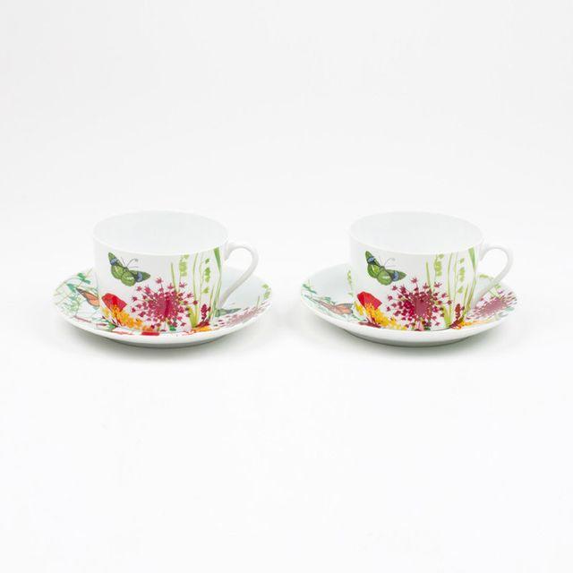 Table Passion Tasse + soucoupe en porcelaine motif floral/papillons - Coffret de 2 Tutti Fiori