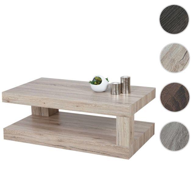 Mendler Table basse de salon Hwc-a32, structure 3D Fsc 40x110x60cm ~ aspect chêne Sanremo