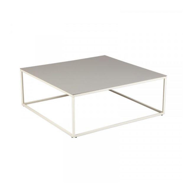 Dansmamaison Table basse Carrée Céramique Gris clair - Ladas - L 90 x l 90 x H 34 cm