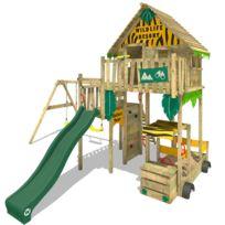 Wickey - Aire de jeux Smart Explore Cabane en bois Tour de jeux avec toboggan et balançoire double