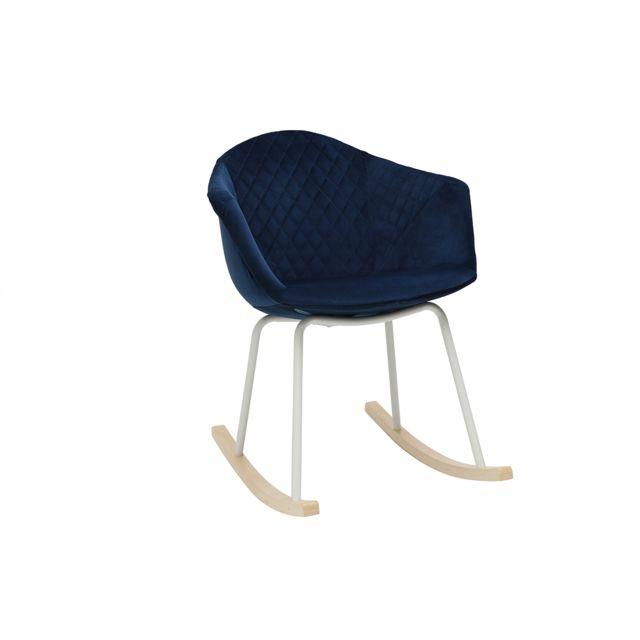 Miliboo Rocking chair velours bleu foncé et métal blanc Swing