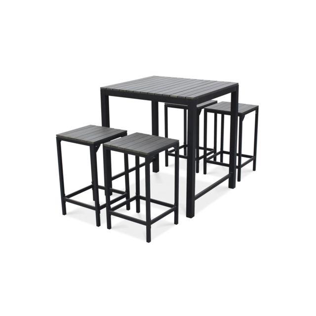 OVIALA - Table haute de jardin et 4 tabourets en aluminium Gris ...