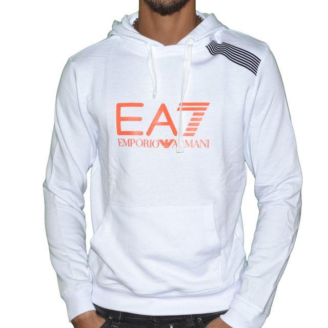 a59efecf06ac Armani - Ea7 - Sweat à Capuche - Homme - 7 Colours Hoodie - Blanc Orange
