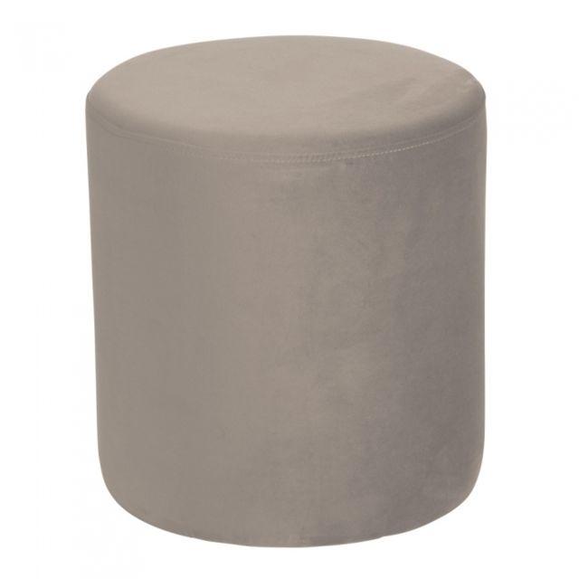 TABLE PASSION Pouf Joye Velours 40 cm Taupe