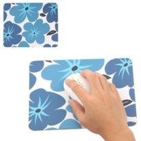 Wewoo - Tapis de souris optique élégant bleu modèles fleurs taille: 22x17.8cm