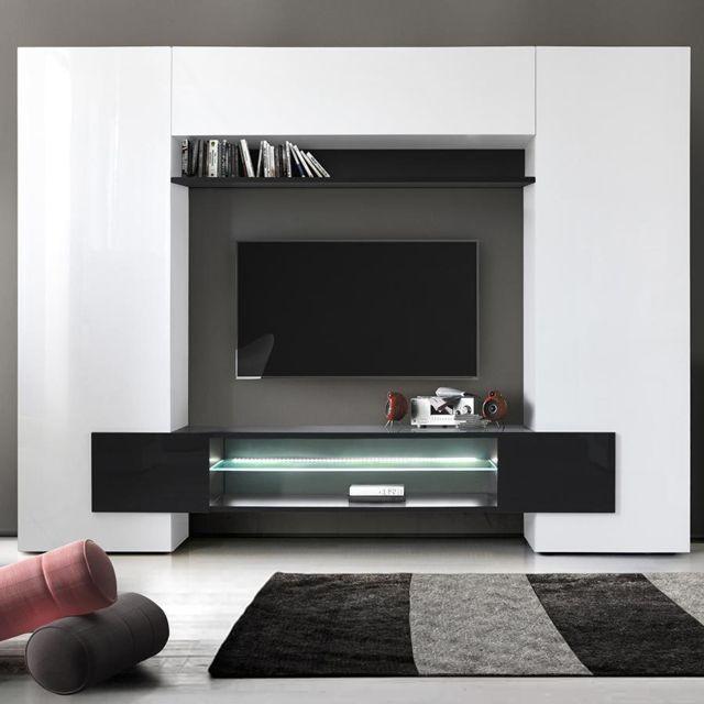 Sofamobili Meuble tv mural laqué blanc et noir Argos 3