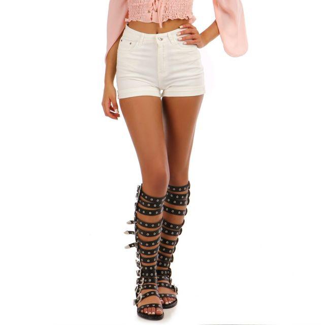 Lamodeuse - Short en jean blanc taille haute